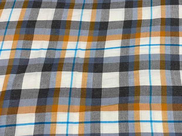 White Gray Orange Yarn Dyed Checks Printed Cotton Fabric
