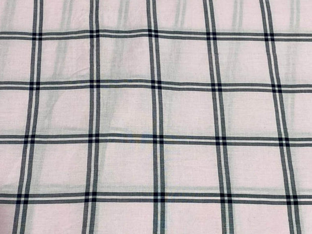 White Gray Yarn Dyed Checks Printed Cotton Fabric