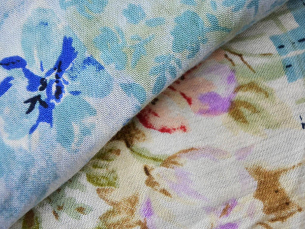 White Multicolour Flowers Abstract Crinkled Digital Printed Viscose Crepe Fabric