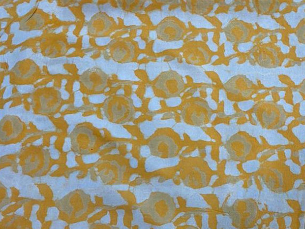 White Mustard Abstract Kalamkari Printed Cotton Fabric