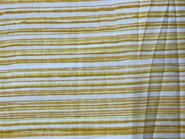 White Mustard Yellow Stripes Printed Cotton Fabric