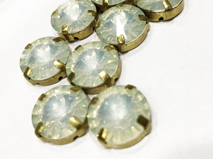 White Opal Circular Resin Stones with Catcher (14 mm) (4539506819141)