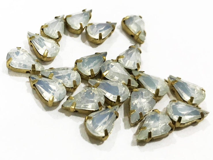 White Opal Drop Resin Stones with Catcher (10x6 mm) (4541472211013)