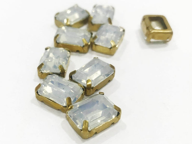 White Opal Rectangular Resin Stones with Catcher (14x10 mm) (4541060677701)