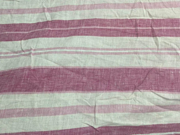 White Pink Stripes Printed Pure Linen Fabric