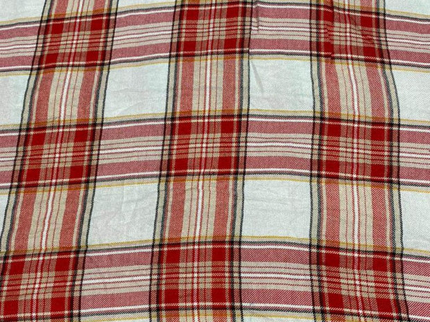 White Red Yarn Dyed Checks Printed Cotton Fabric