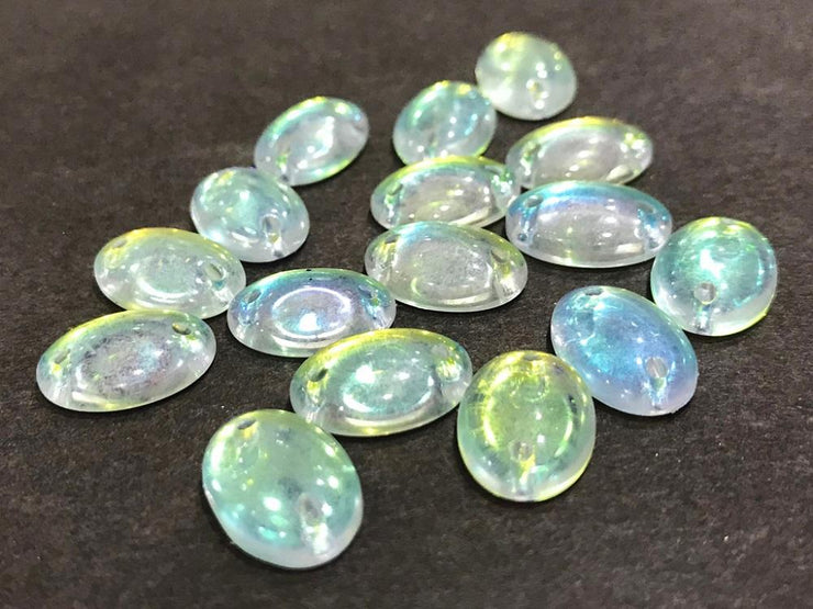 White Transparent Rainbow Oval Glass Stones (14x10 mm)