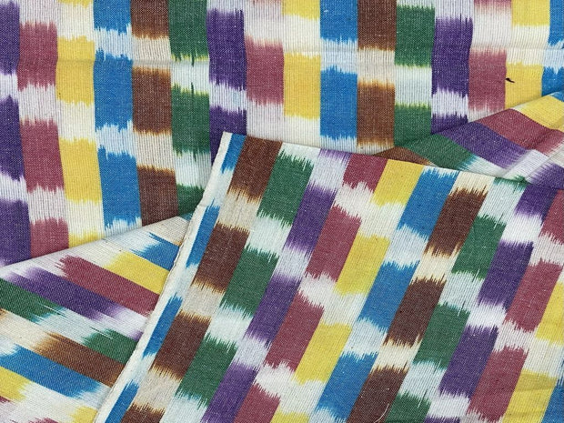 White Multicolour Yarn Dyed Cotton Ikat Fabric
