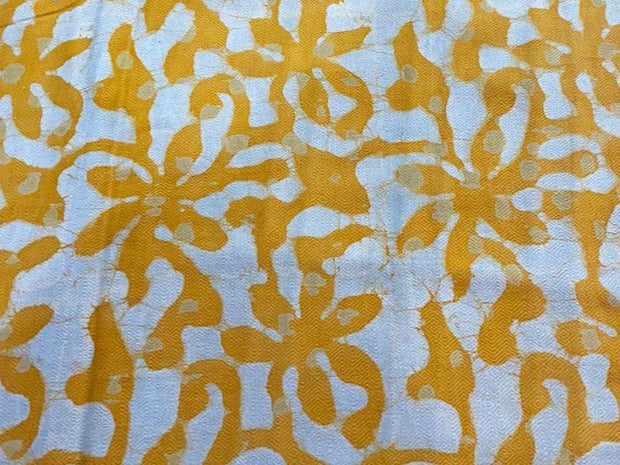 White Yellow Abstract Floral Kalamkari Printed Cotton Fabric