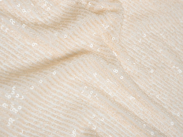 White Sequins Embroidered Lycra Net Fabric