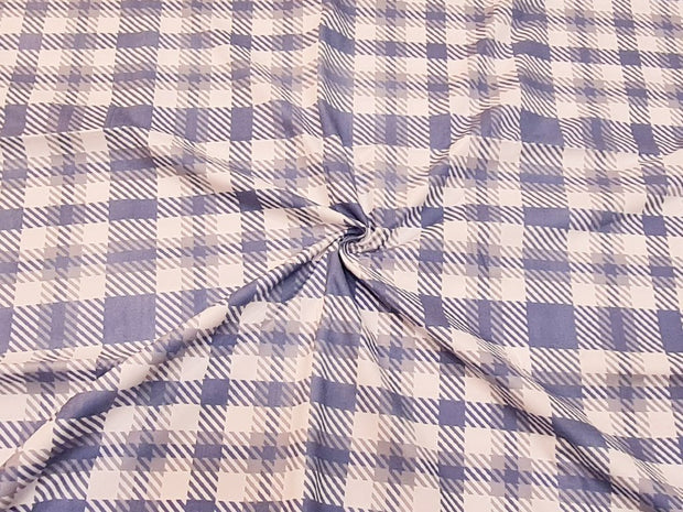 White Blue Plaid Checks Printed Cotton Fabric