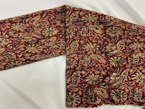 Wine Red Blue Flowers Kalamkari Printed Cotton Fabric