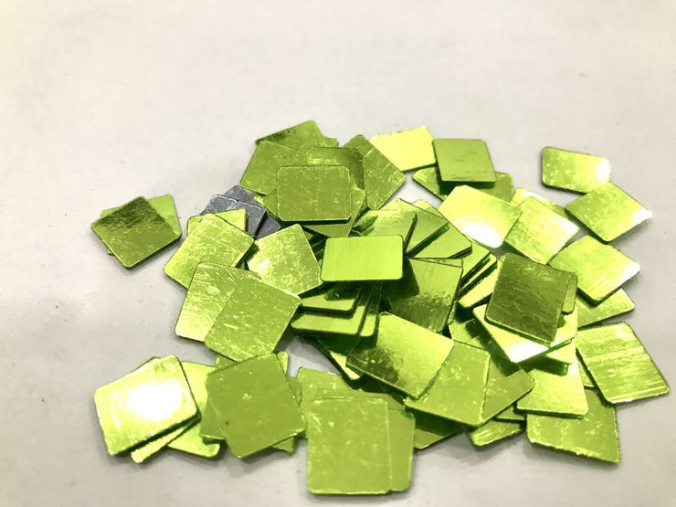 Green Rectangular Plastic Sequins Without Hole (11x9 mm) (4485033066565)