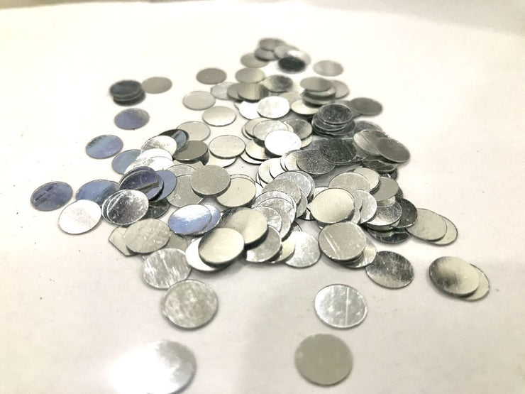Silver Opaque Circular Plastic Sequins (Without Hole- 7 mm)