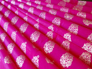 Pink Golden Floral Polyester Chanderi Fabric | The Design Cart (3775089901602)