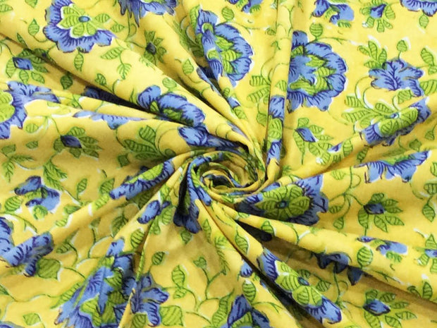 Yellow Blue Flowers Block Printed Cotton Fabric