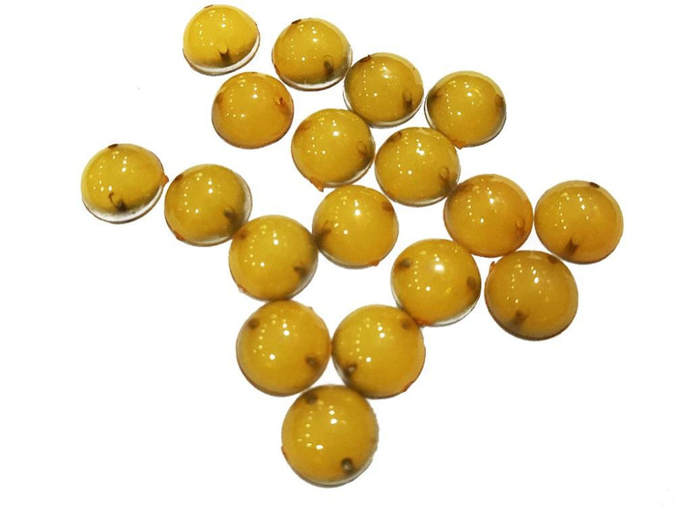 Yellow Circular Opaque Opal Plastic Rubber Stones (10 mm) (4505087934533)