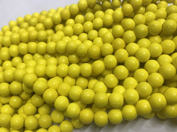 Yellow Circular Pressed Glass Beads- 6mm