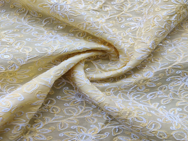 yellow-cotton-fabric-with-thread-and-sequins-chikankari-embroidery