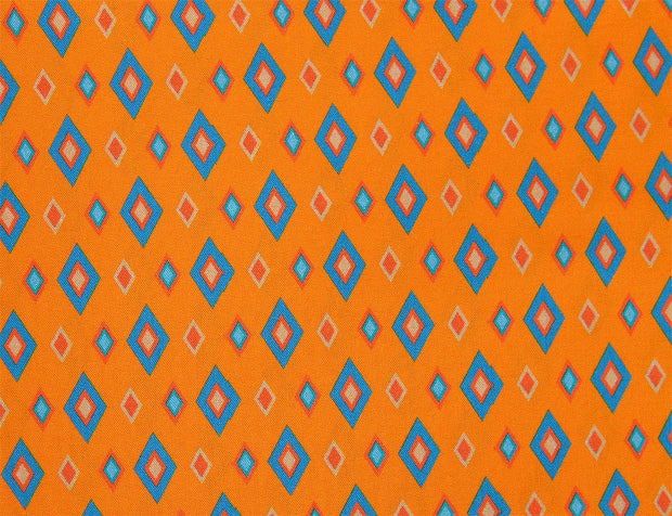 Mustard Yellow Blue Geometric Digital Printed Cotton Silk Fabric