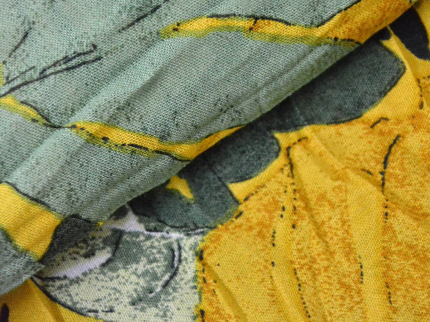 Yellow Green Leaves Digital Printed Crinkled Viscose Rayon Fabric