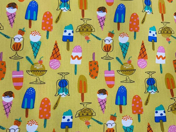 Yellow Multicolour Ice Creams Printed Poplin Cotton Fabric
