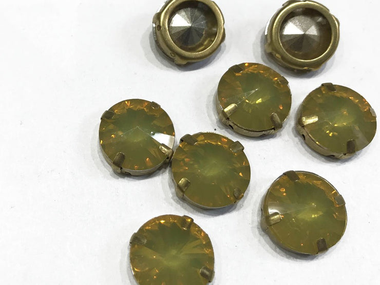 Yellow Opal Circular Resin Stones with Catcher (16 mm)