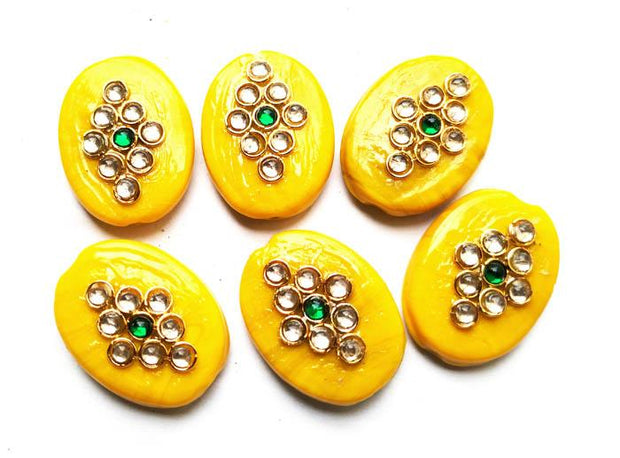 Yellow Oval Kundan Stone Beads (25x18 mm) (4543938920517)