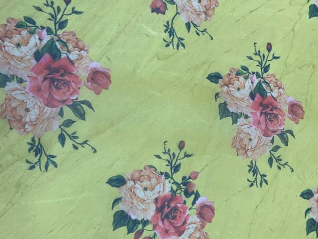 Yellow Pink Flowers Printed Organza Fabric