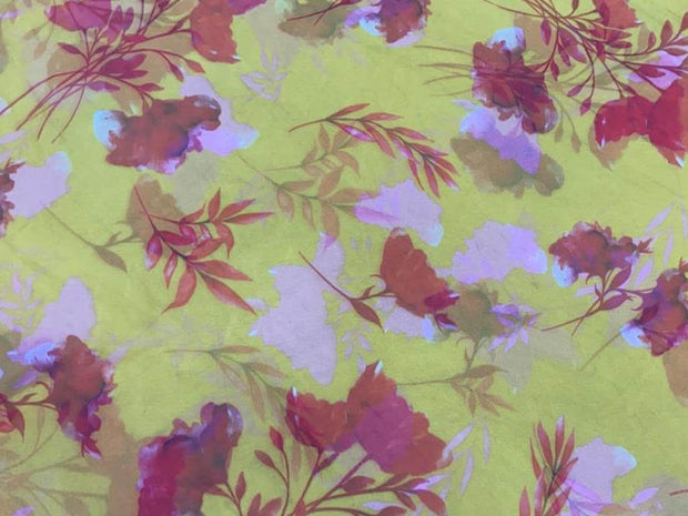 Yellow Red Flowers Printed Organza Fabric