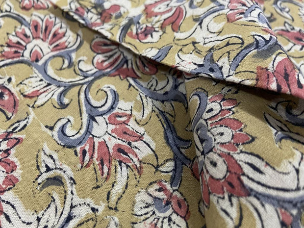 Yellow Red Flowers Kalamkari Printed Cotton Fabric