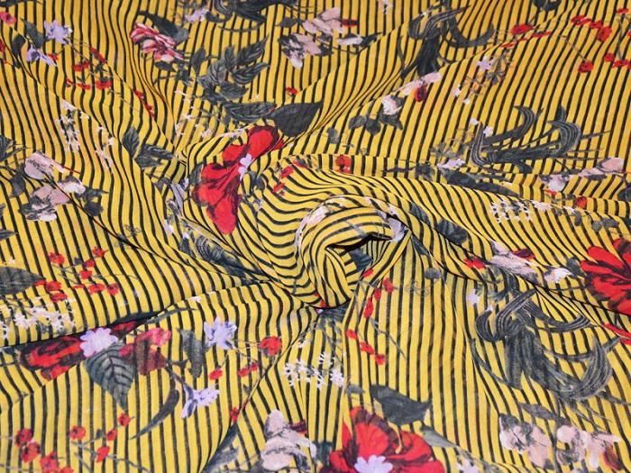 Yellow Red Stripes Flowers Digital Printed Georgette Fabric (4550507462725)