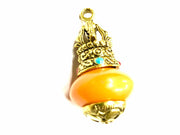 Yellow Round Stone Pendant with Designer Golden Cap