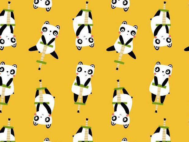 Yellow White Black Bears Printed Poplin Cotton Fabric