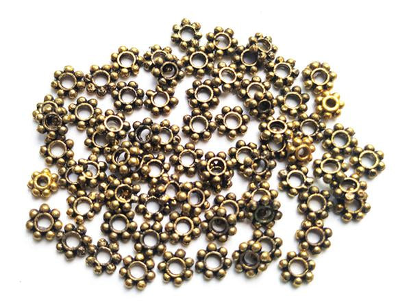 Anitque Golden Brass Finished German Silver Spacer Beads