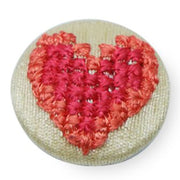 Fabric and Lace Well Finished Thread Embroidery Work With Beautiful Heart Shape design Buttons