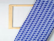 Blue And White Geometric Design Polyester Crepe Fabric