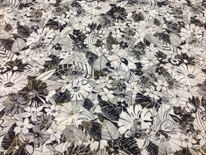Black White Forest Printed Cambric Cotton Fabric