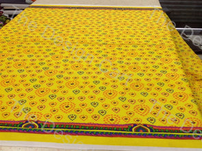 Yellow Red Drops Printed Cambric Cotton Fabric