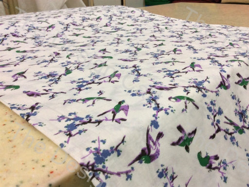Green Purple Sparrow Printed Cambric Cotton Fabric