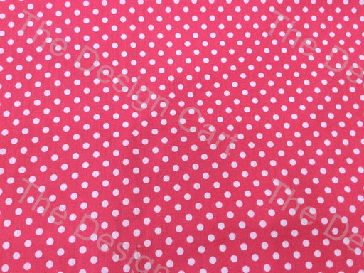 Pink White Polka Dots Printed Cambric Cotton Fabric