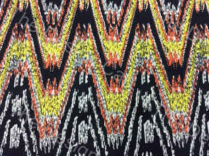 Multicolour Black Chevron Printed Cambric Cotton Fabric