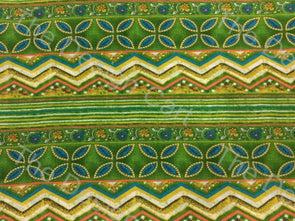 Multicolour Green Four Leaves Printed Cambric Cotton Fabric