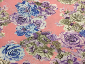 Light Pink Multicolor Roses Printed Cotton Fabric