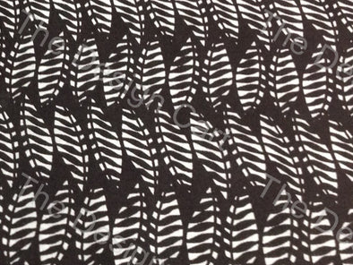 Black White Palm Leaf Printed Cambric Cotton Fabric