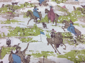 White Green Horses Printed Cotton Fabric