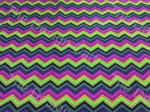 Multicolour Bright Chevron Printed Cotton Fabric