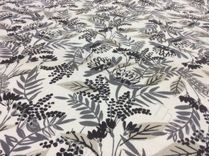 White Black Bush Printed Cotton Fabric