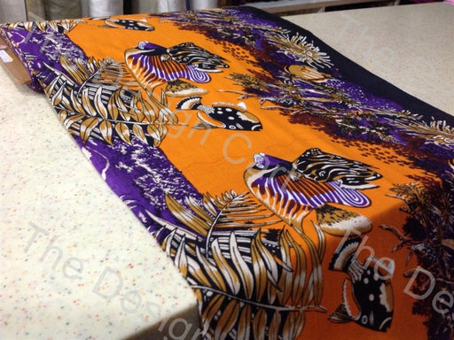 Violet Orange Fishes Printed Cambric Cotton Fabric
