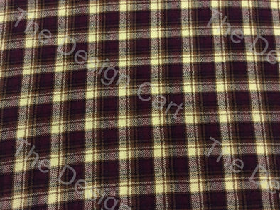 Purple Yellow Check Checked Wool Fabric
